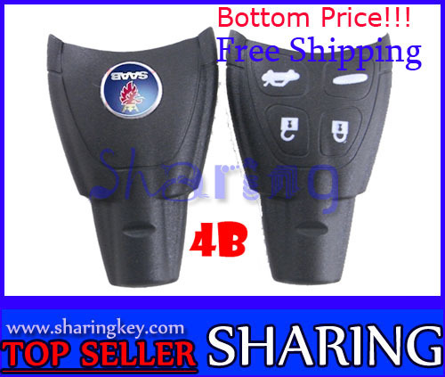 Free Shipping (5pcs/Lot)Remote Key Case Fob for SAAB 9-3 9-5 93 95 2009 Plus Smart key Shell 4 Button Soft Button