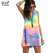 Buy Dotfashion Ladies Summer Style Multicolor Tie-dye V Neck Sleeveless Knotted Shift Dress Hollow Shift Mini Dress for $8.53 in AliExpress store
