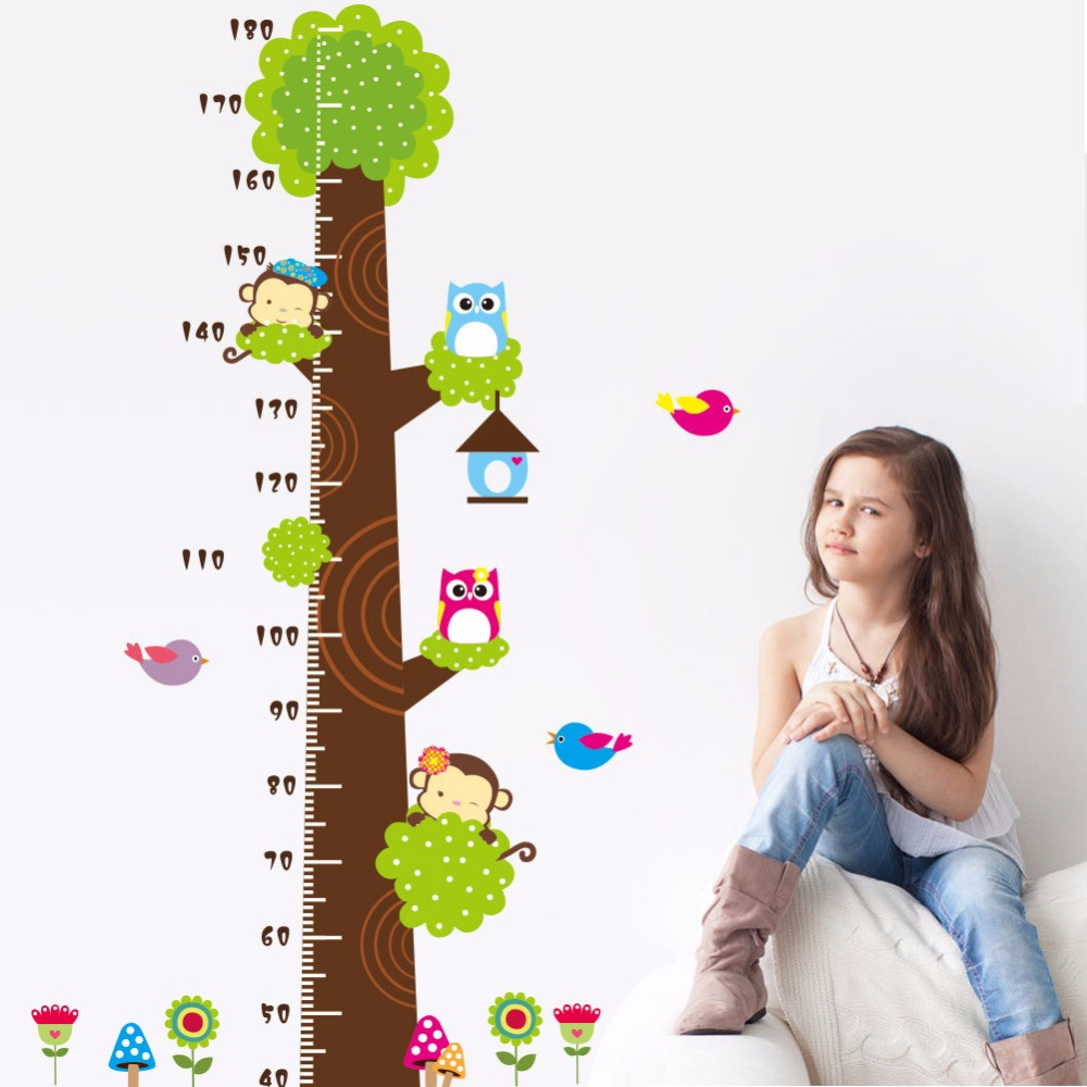 Kids Height Chart Wall Sticker Home Decor Cartoon tree Height Ruler Home Decoration room Decals Wall Art Sticker wallpaper(China (Mainland))