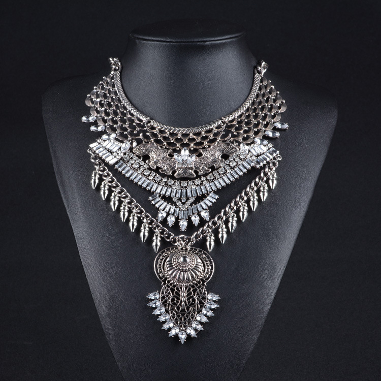 2015 JSHINE Vintage Big Metal Silver Chain Fashion Necklaces & Pendants Chunky Chain Statement Maxi Necklace Steampunk Jewelry(China (Mainland))