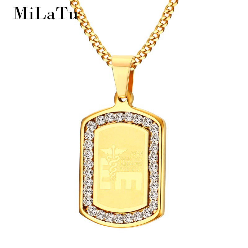 MiLaTu Fashion Men Medical Necklaces & Pendants Stainless Steel Cubic Zirconia Chain Pendant With Snake Male Jewelry NE259G