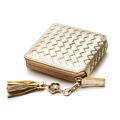 Tassel Ornament New Fashion Manual Knitting Small Purse Imported Top Layer Sheepskin MINI Woven Pattern Wallet