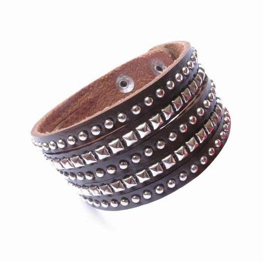 Trendy Fashion Punk Spike Stud Belt Buckle Unisex Wide Leather Bracelets For Women & Men Jewelry Bangle FB2013339(China (Mainland))