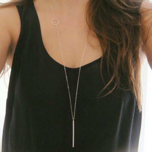 2016 New Jewelry Fashion Simple Loops Long Necklace c1176 b4xr