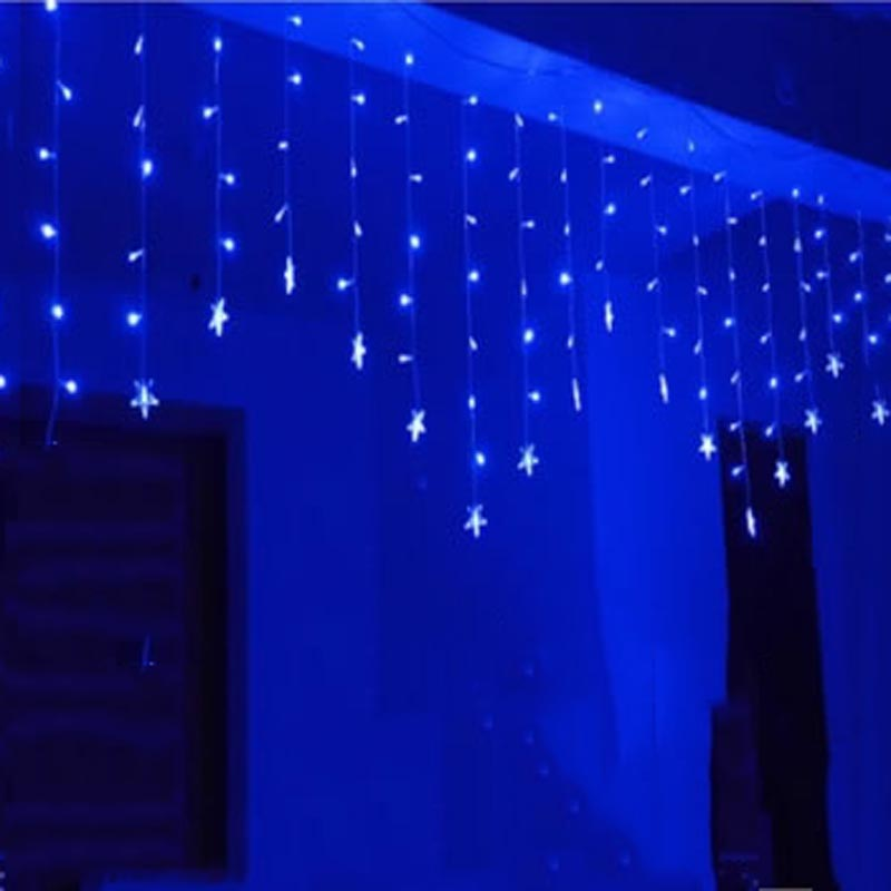 Luminarias 3.5M 96 LED Icicle Stars String Curtain Light For Christmas Wedding Party Decoration Chandelier(China (Mainland))