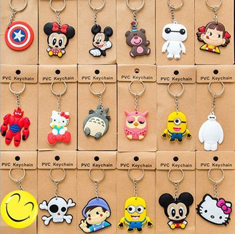 20 Styles Cartoon Keychain Toy PVC Metal Ring Action Figure Toy Minions Baymax Hello Kitty Key Chain Pendant Christmas Gifts(China (Mainland))
