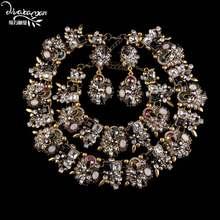Dvacaman Marke 2017 Indische Hochzeit Braut Drei Schmuck Sets Luxus Kristall Verlobungsfeier Zubehör Frauen Bijoux Femme V94(China)