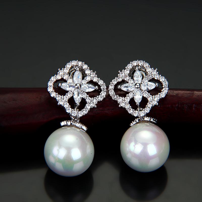 Hot Fashion Top Quality 2015 New Pearl CZ Diamonds Element Stud Earrings Ear Jewelry Free Shipping Wholeslae(China (Mainland))