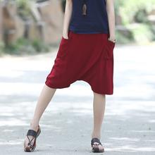Cotton Solid Mid Elastic waist Women Cross Pants Capris Summer Casual Loose Novelty Pants Hip hop Punk Street Trousers 3042(China (Mainland))