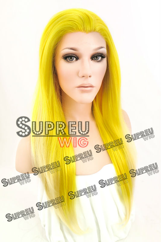 24 Long Straight Yellow With Light Tips Lace Front Wig Heat Resistant LW040<br>