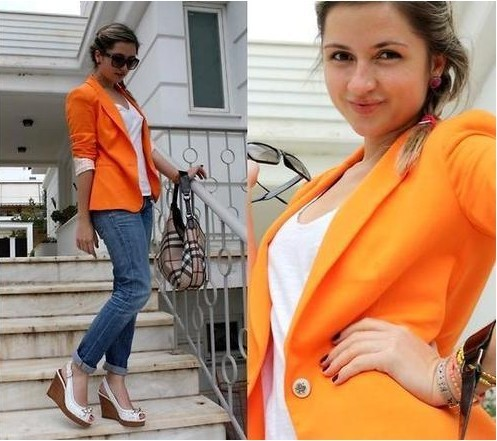 Free shipping 2013 Spring Candy color one button blazer lady's suits jackets brand coat  outwear Z0002 6 COLOUR 5 SIZE XS XL