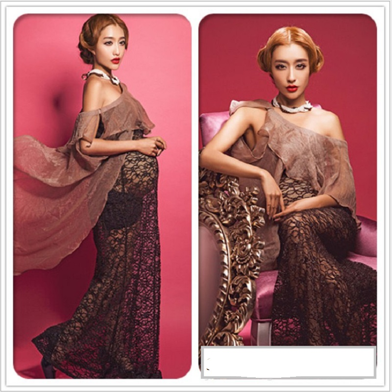 Black Lace Maternity Photography Props Royal Style Dresses Elegant Fancy Pregnancy Gown Pregnant Women Photo Shoot Dress Clothes(China (Mainland))