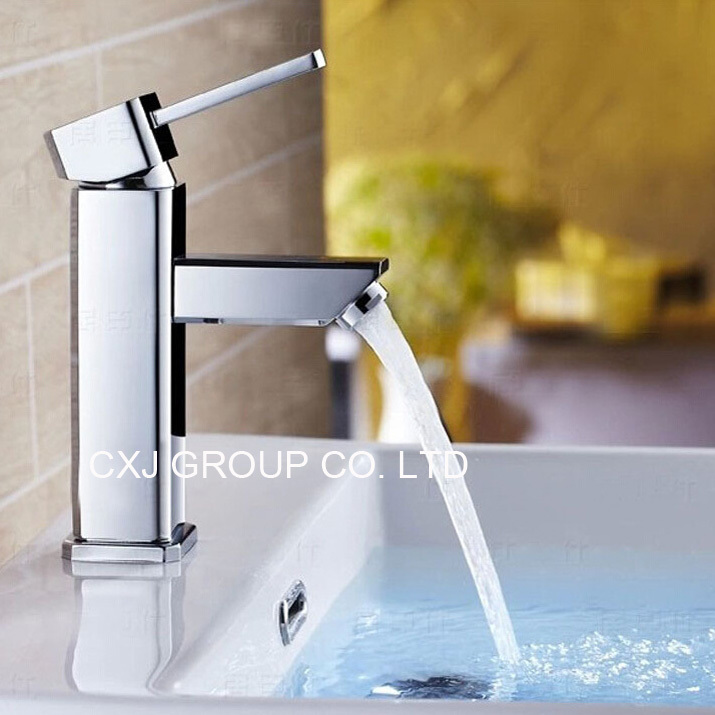 Free Shipping New Arrival Brass Chrome Finish Bathroom Faucet Single Handle Cold and Hot Water Tap Basin Faucet