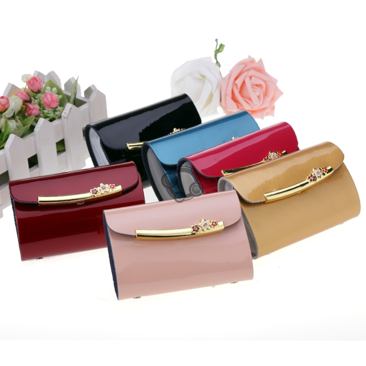 Clutch bag Women New Fashion 2015 Metal Buckle Synthetic Leather wallet purses Card Bag Credit Bank ID Card Holder#(China (Mainland))