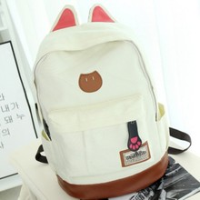 New 2016 Campus Women Girls Backpack Travel Bag Young Canvas Men Backpack Brand Fashion School Sports Bags Cat Ears Bags(China (Mainland))