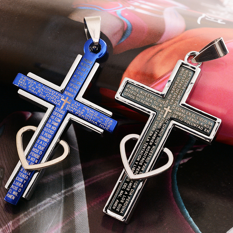 1 PCS Fashion boutique accessories black/blue love cross pendant Titanium steel couple necklace Easter gift YN803(China (Mainland))