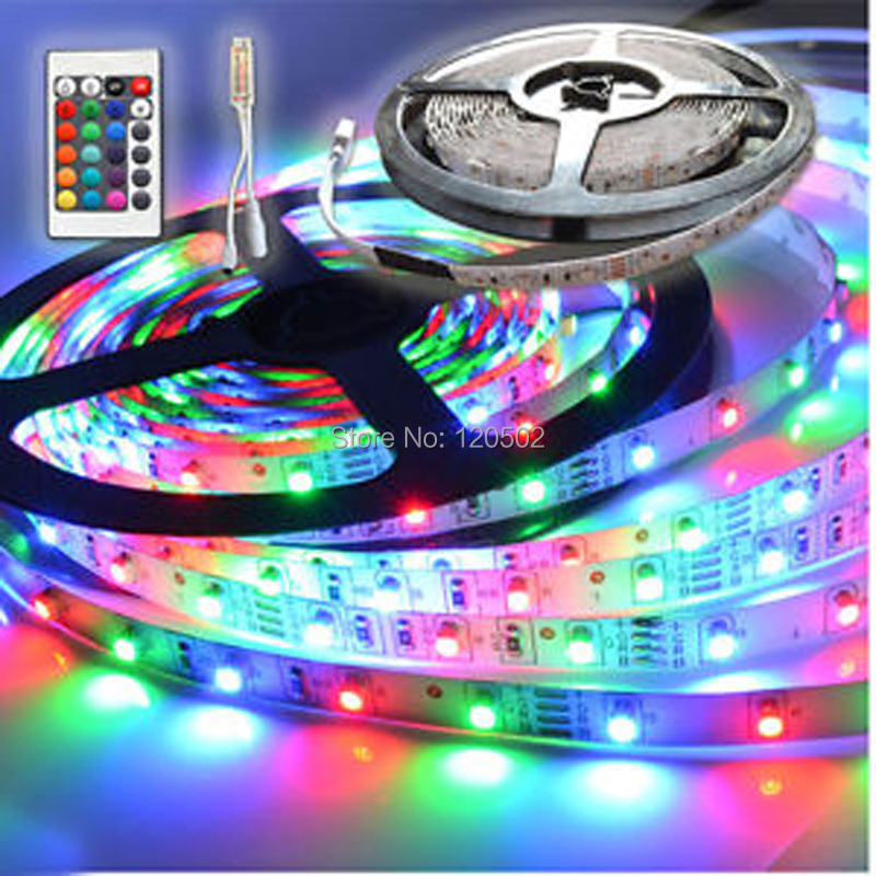 NEW!! 3528 RGB SMD 60 LED / M LED Strip Light + 24key MINI Remote Control(China (Mainland))