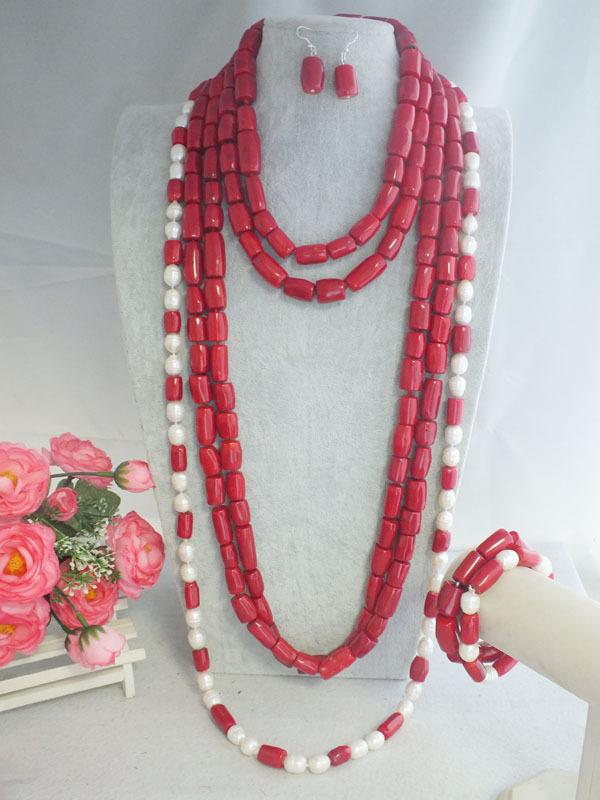 Beautiful latest Nigerian women jewelry red drum coral necklace set MN-2457(China (Mainland))