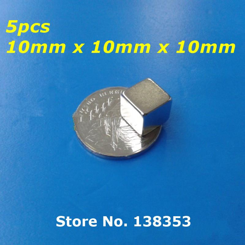 5pcs Bulk Super Strong Neodymium Square Block Magnets 10mm x 10mm x 10mm N35 Rare Earth NdFeB Cuboid Permanent Magnet