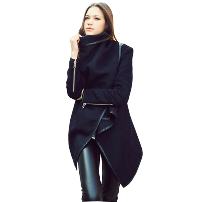 2015 New Jackets Women Long Zipper Worsted Full Pockets Solid European Style Winter Overcoat Fashion Coat ZLY241 - Beauty Every Day store