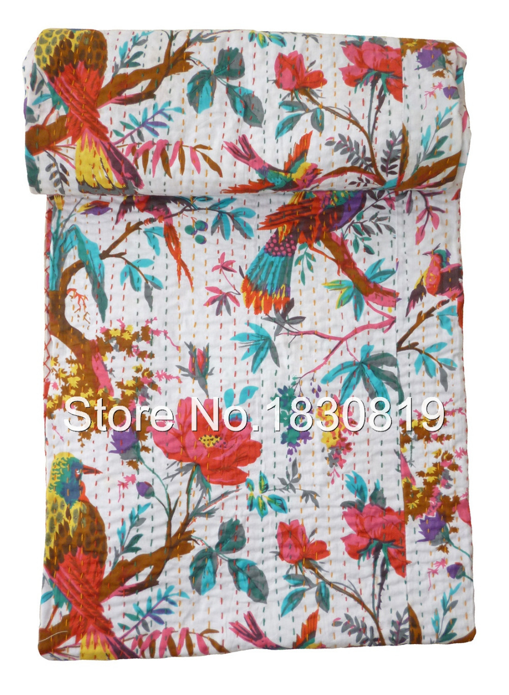 Indian Bird of Paradise Kantha Quilt, Bohemian Kantha Rallies, Reversible Bedsheet/Bedspread (KING Size, 100% Premium Quality).