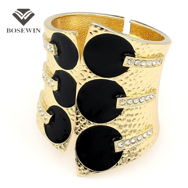 BOSEWIN Female Fashion Exaggerate Cuff Bangles Metal Black Glaze Rhienstones Women Statement Jewelry Big Bracelets - JEWELRY Store store