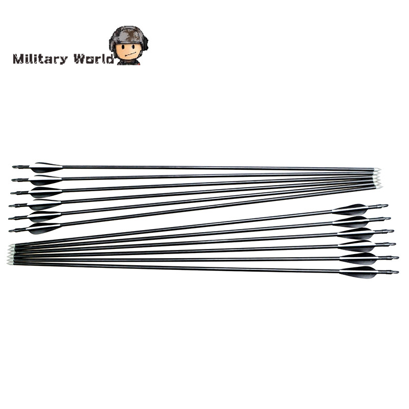 12pcs pack Hunting 80cm Fiberglass Arrows With Nocks Proof Fiber Glass Archery 15 80lbs For Compound