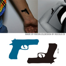 HC1104 Wholesale Waterproof Temporary Tattoo Stickers Personalized Pistol Pattern Fast Fake Tattoo Hip Hop Body Art Flash Tattoo