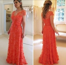 elegant fashion red evening dresses 2017 v neck short sleeves applqies lace women pageant gown for formal party(China (Mainland))
