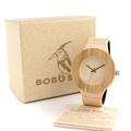 HOT BOBO BIRD Brand Design Bamboo Wooden Watches Leather Straps Quartz watch Gift box Accept Customiztiom