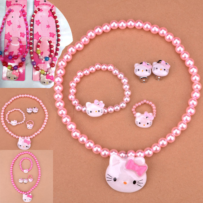 kid Favorite Jewelry Set Gift,2015 Sale Real Girls Hello Kitty Cat,children Pearl Necklace Clasp Bracelet Earrings Ear Ring Sets(China (Mainland))