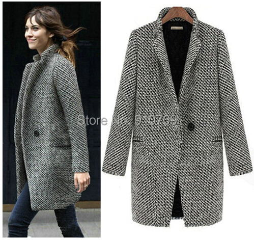 2014 Design New Spring/Winter Trench Coat Women Grey Medium Long Oversize Plus Size Warm Wool Jacket European Fashion Overcoat - Online Store 910709 store