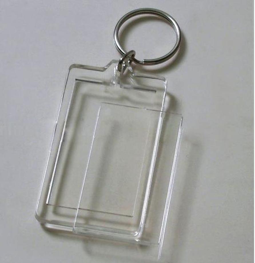 "1000pcs Blank Acrylic Rectangle Photo Keychains Insert Picture & Logo Keyrings (Key tag) 2""x 1.25"" -DHL / FEDEX Free Shipping(China (Mainland))"
