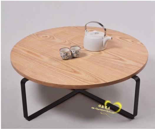 Amerikaanse ijzer dwerg theetafel retro ronde salontafel gemaakt van massief hout, Smeedijzeren
