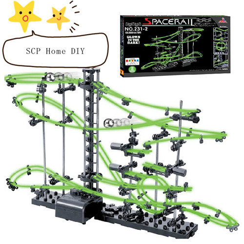 SCP Home DIY Glowing Toys Electronic Space Rail Physics Space Ball Rollercoaster Classic Model Toys Glow In The Dark Toy T01(China (Mainland))