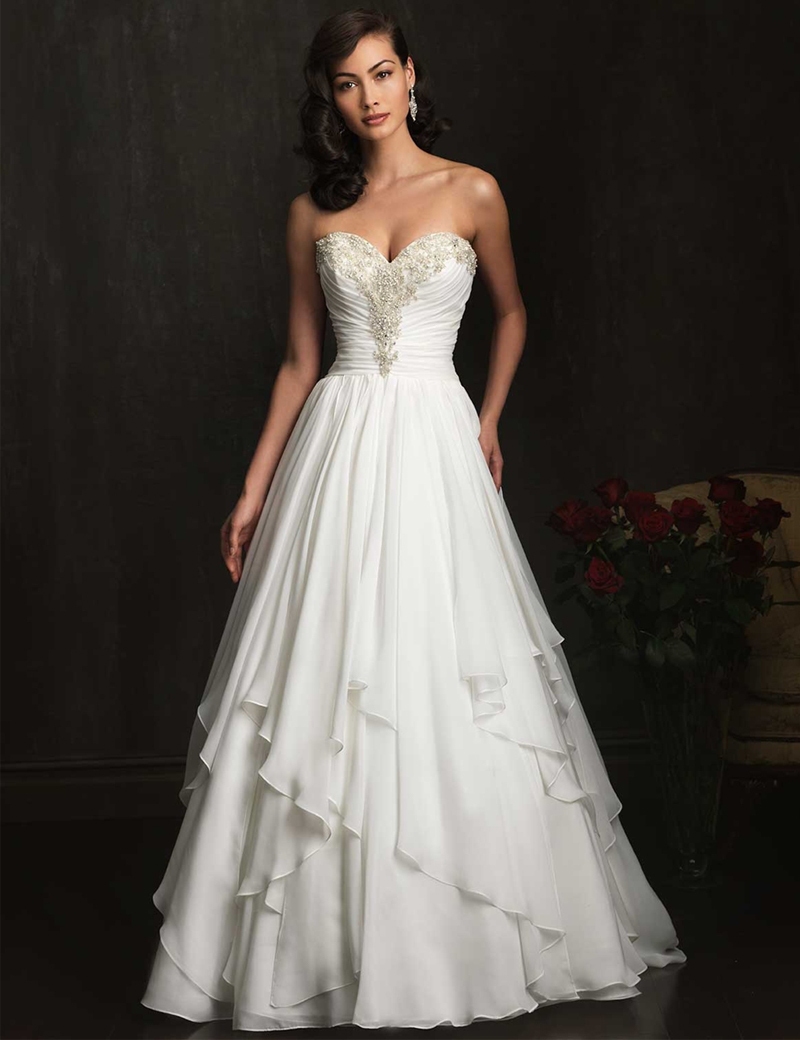 New style sweetheart wedding dress a line chapel train for A line style wedding dresses