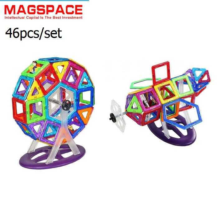 46PCS MAGSPACE Magnetic building block set Model forge world doll house jigsaw puzzles baby toy, Magformers(China (Mainland))