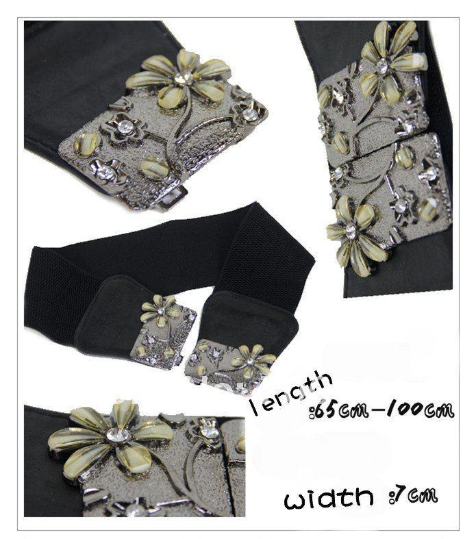 Generous wide ornament ladies girls Women's Belts Leather Belt Elastic imitation jewelry Flower metal Buckle Wide Waistband(China (Mainland))
