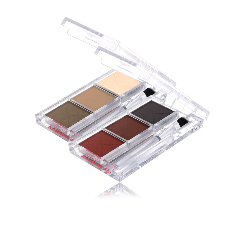 Red&Black 3 Colors Eyebrow Eyeshadow Palette Long-lasting Matte Fine Powder 3.6g(China (Mainland))