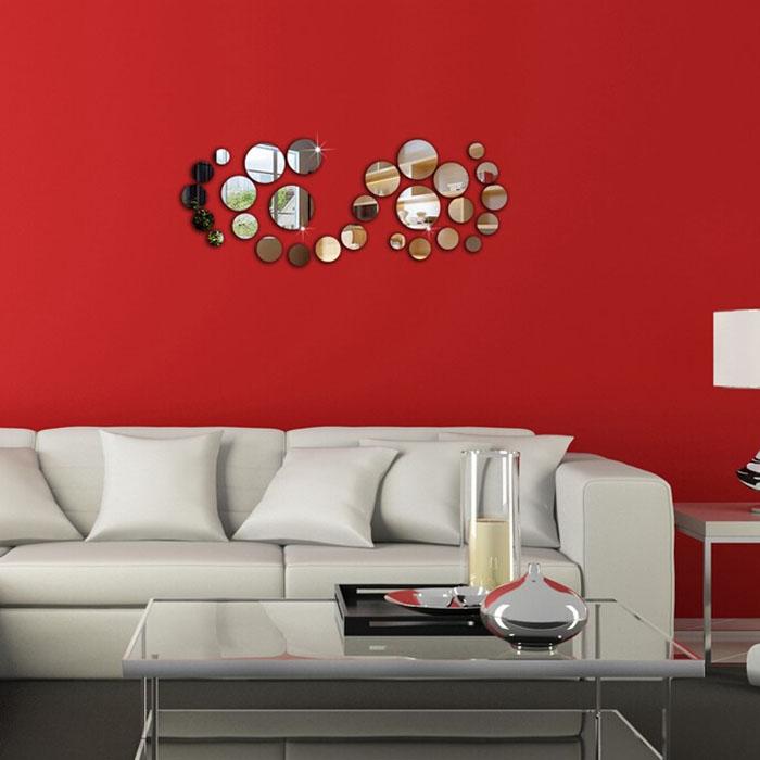 Hot new plastic 28pcs silver polka dot mirror wall for Silver bedroom wall art