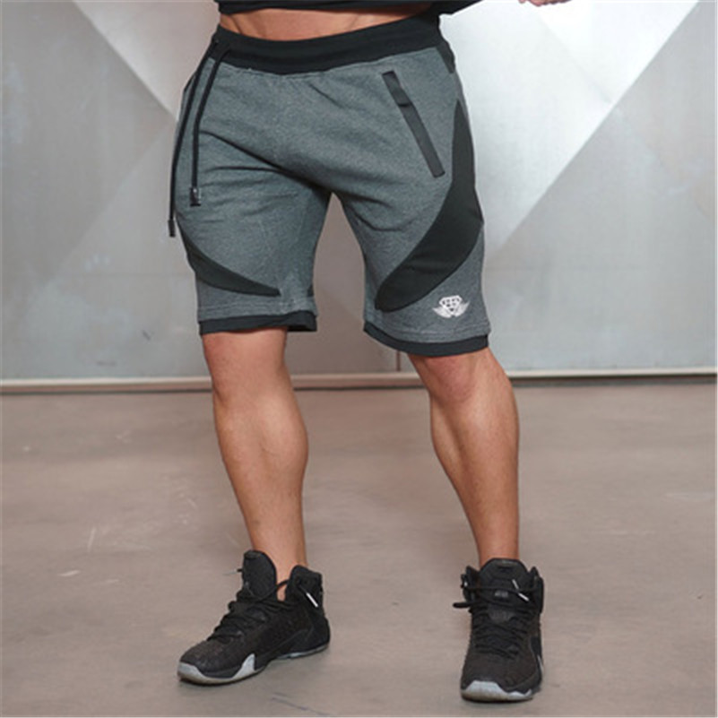 2016 Hot High Quality Muscle Brothers Men's breathable and Navy blue Casual shorts workout cotton Splice skinny Professional