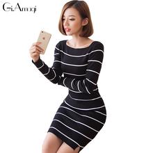 Buy Autumn Korean Long Sleeve Knee Length Knited Midi Dress Slim Bodycon Bandage Black White stripe Women Dresses Bandage Vestidos for $16.80 in AliExpress store
