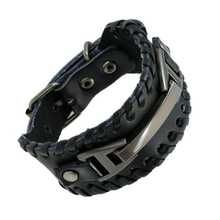 Buy Punk Male Bracelet Wide Genuine Cowhide Leather Cuff Bracelet Wristband Wrap Titanium Plated Mens Bangles Belt Buckle Jewelry for $2.97 in AliExpress store