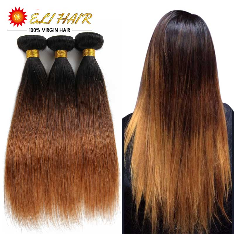 1B/4/30 Virgin Human Hair Weaves Ombre Straight Hair Extensions Set Top Grade 3 Tone Brazilian Straight Hair Extensions(China (Mainland))