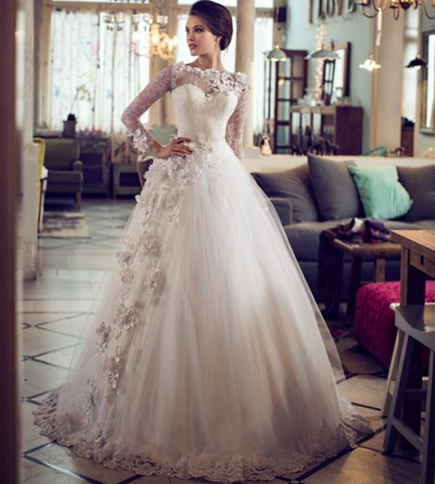 Buy puffy lace bridal long sleeve ball for Wedding dress made of flowers