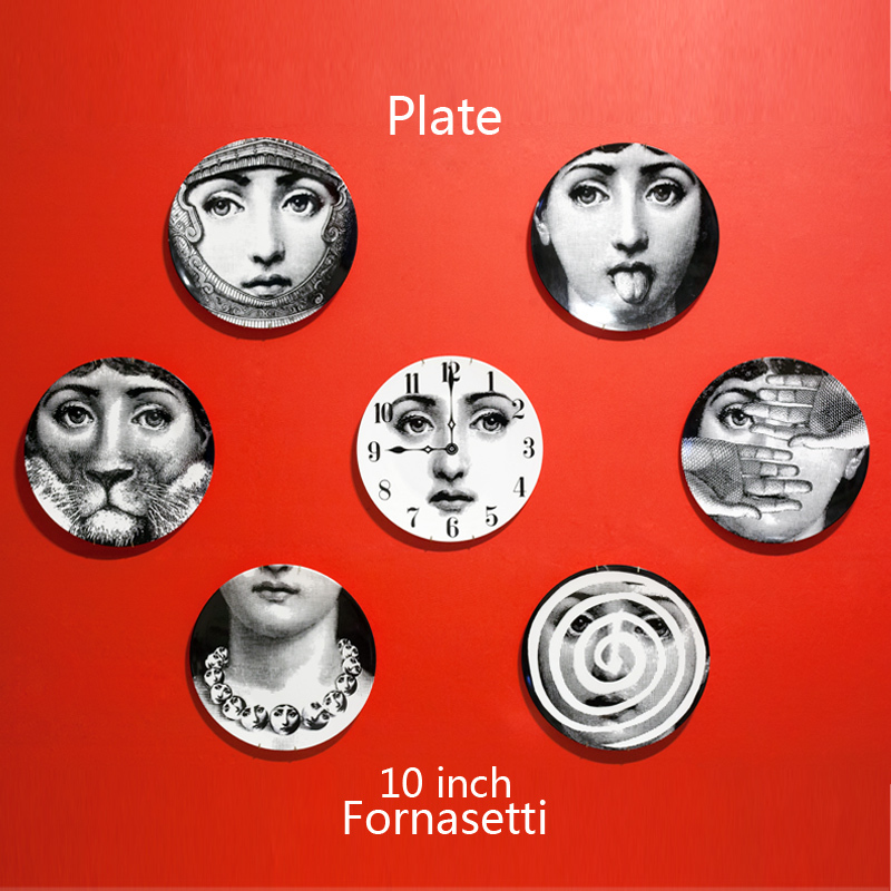 2015 Top Fashion New Europe No Vasos Decorativos Figurines Italy Fornasetti Decorative Plates Wall Plate Vintage Art European(China (Mainland))