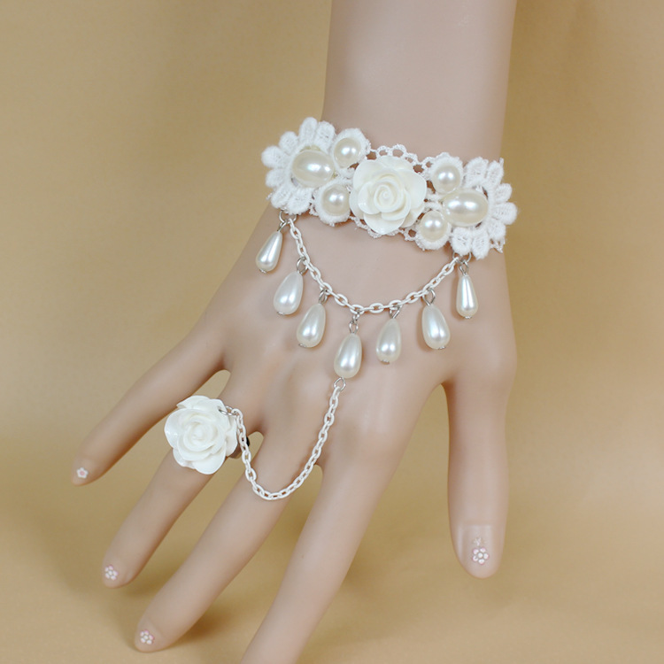 Sweet Beautiful White Rose Pearls Lace Bridal Chain High ...