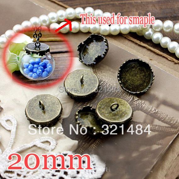 Antique bronze 500pcs King crown Caps Covers For glass bottle vials pendant 20mm Blank Base Setting jewelry DIY Wholesale