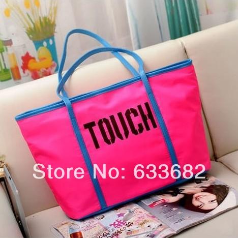 Free Shipping 2013 New Simple Style Women Fashion Candy Nylon Tote Handbags Letter Designer Handbag Name Brand Shoulder Bags(China (Mainland))