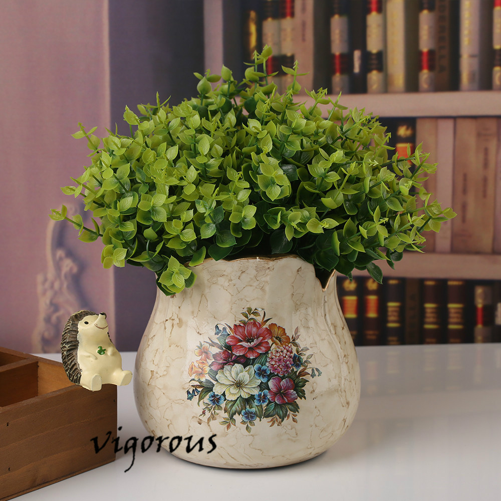 Hot Selling Eucalyptus leaves reen Grass Artificial Plants For Plastic Flowers Household Store Rustic Decoration(China (Mainland))